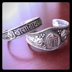 Tibetan silver bracelets with Sanskrit mantra